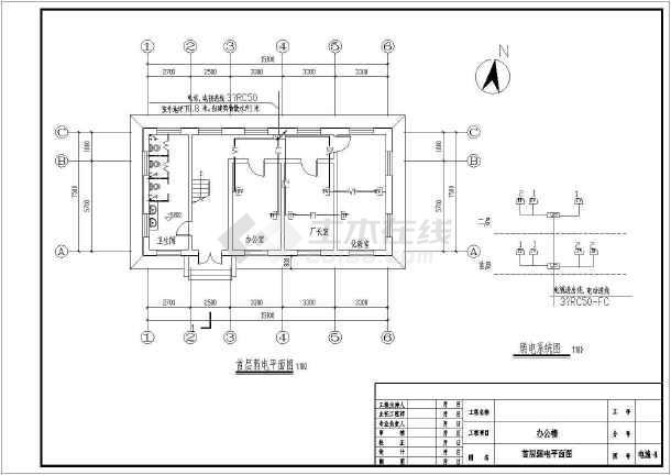 某两层污水处理厂厂区电气设计图纸(三级负荷)图片