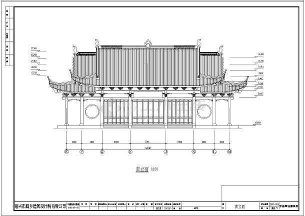 某1010平方米一层砖木结构古建山门建筑施工图(15.5米