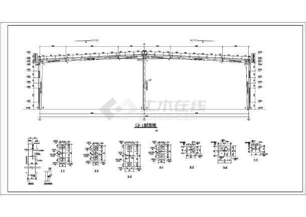 某2×18米跨轻钢厂房结构设计图