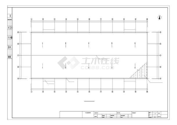 [江苏]24米跨门式刚架厂房结构图(带5t行车)