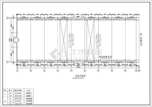 [施工图]某带32吨和20吨吊车厂房建筑结构图