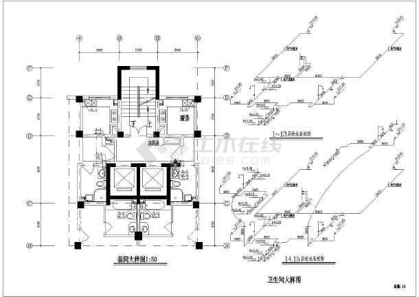 某十五层普通住宅给排水v雨水施工图(雨水系统农家院北方现代cad图纸图片