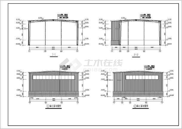 两栋单层轻钢结构库房建筑结构图