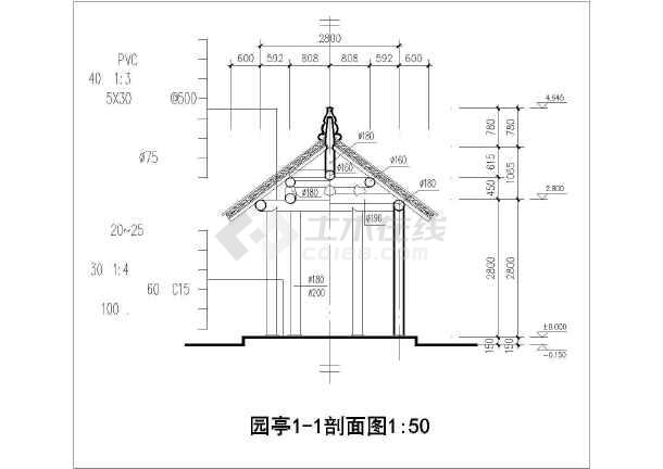 某单层砖木结构古建亭子建筑方案图系列-园亭(高4米)