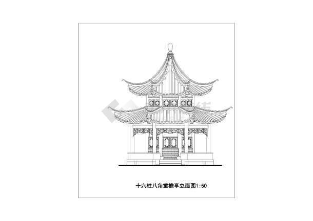 地上一层砖木结构古建亭子建筑方案图(十六柱八角重檐亭)