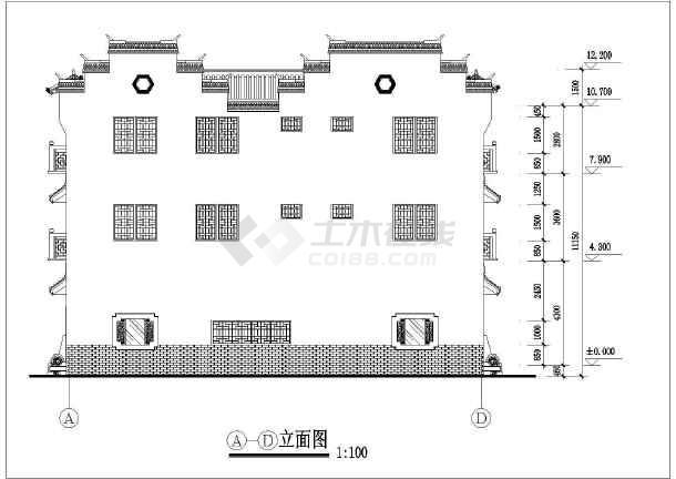 某三层砖混结构徽派建筑设计方案图(高12米)