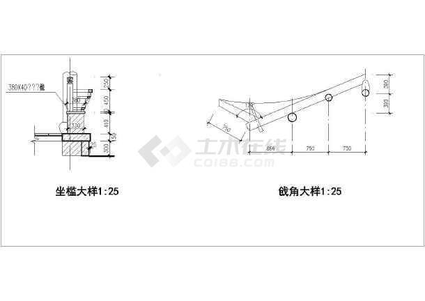 某单层砖木结构古建亭子建筑方案图系列-长六角亭(高5米)