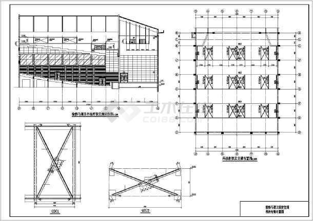 某演播大厅设备检修马道及吊顶钢结构图,共6张图