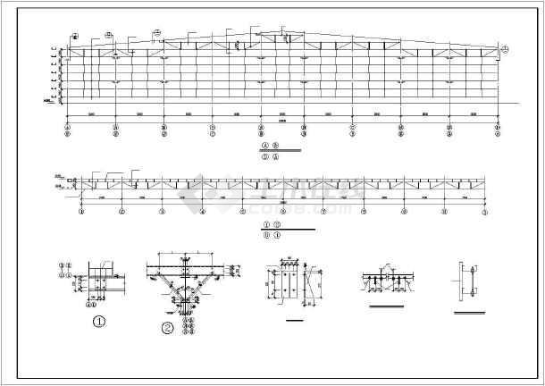 某三联跨轻钢厂房结构图(qd型吊钩桥式起重机4台)