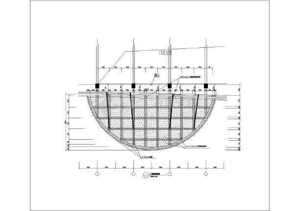 某半圆形雨篷结构图   图纸包括:   门庭雨篷剖面图,门庭雨篷钢结构主