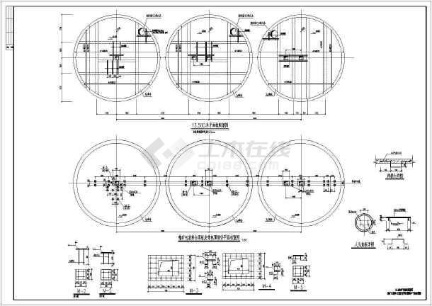 单层圆形料仓结构施工图(桩基础,共6张)