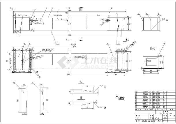 本次设计为:某32吨龙门吊钢结构部分图纸   图纸包括:   门架结构