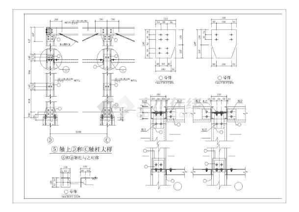 内容简介 车库平面图,立面图,车库屋顶平面图,结构布置图,钢架