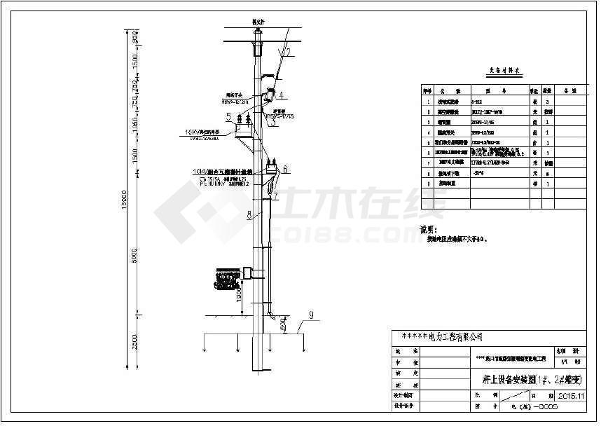 某市政电气全套路灯v电气图纸CAD箱变丝三星图纸帽纹兜图片