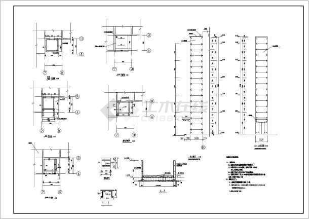 多层宾馆室外电梯钢结构二次设计图纸(7度抗震)