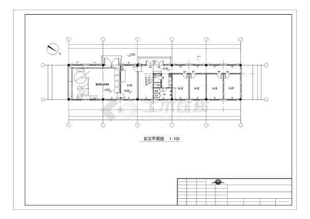 两层框架结构专业化集装箱泊位工程修箱综合办公用房结构图(含建筑图)