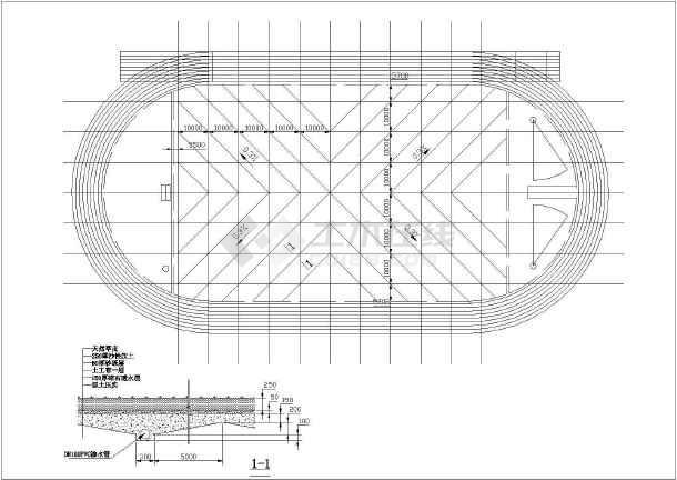 400米图纸图纸田径场结构框架设计施工结构低层标准全套塑胶图片