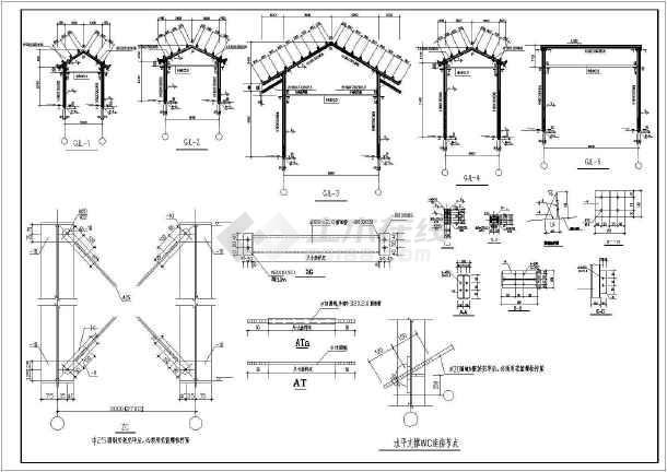 钢结构长廊结构施工图(桩基础,共7张)