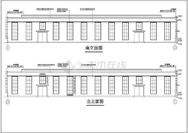 某跨度19米双跨框排架厂房结构图(含建筑设计说明)