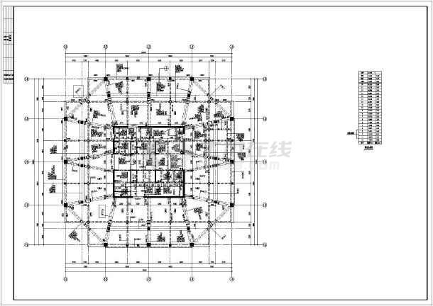 [湖北]十九层框架核心筒结构四星级酒店结构图(含建筑