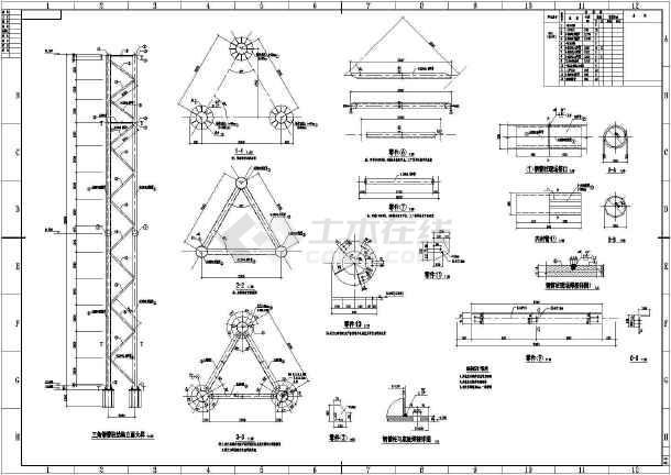 某桁架结构三面广告牌结构设计施工图图片