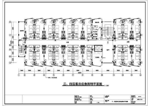 某六层酒店素材机电设计cad腰线(含客房设计)护墙板照明cad图纸免费下载图片