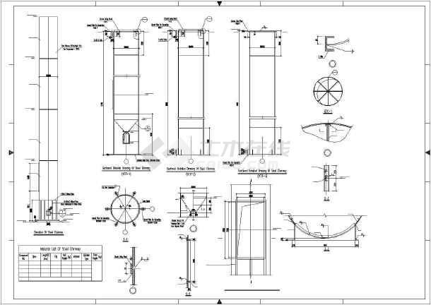 某钢烟囱结构设计图图片