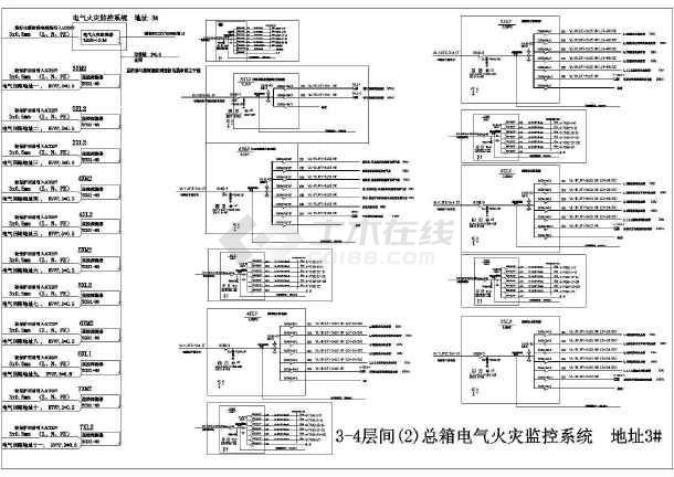 图纸火灾监控设计cad电气(32台TCS01探测器海贼王1000图纸拼图图片