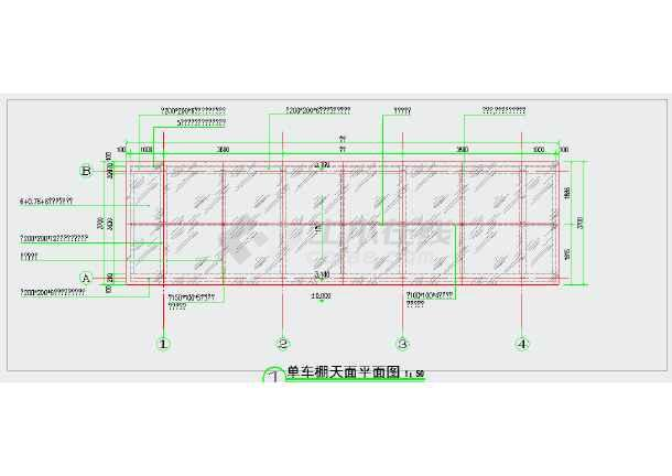 钢结构 钢化玻璃单车棚施工图