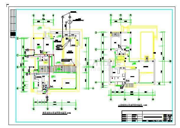 某两层别墅给排水设计cad图纸图片