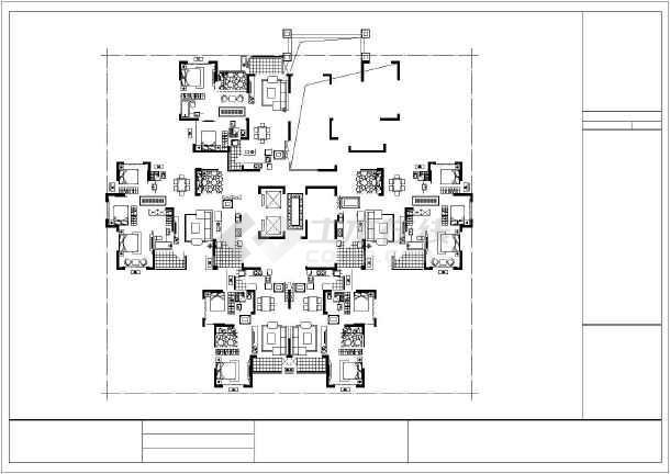 某高层一梯六住宅户型平面图(120,100,80平方米)