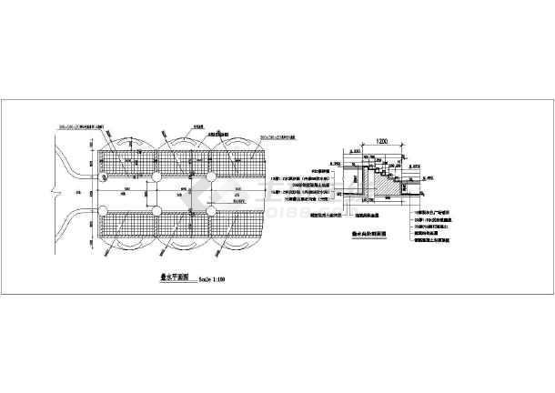 某小区特色叠水施工详图   内容包含:平面图,立面图,剖面图,节点详图