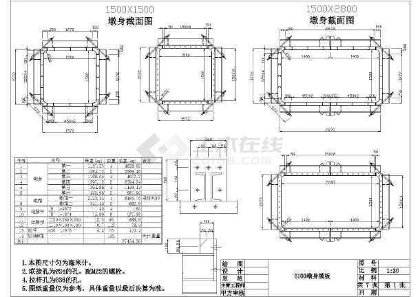 1.5米方型桥墩图纸cad钢模cad多次填充图片