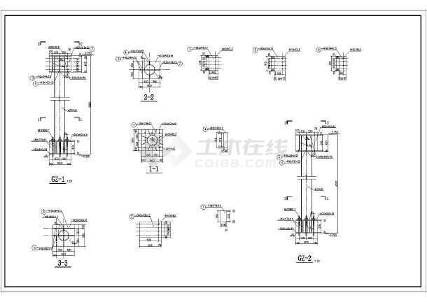 校园钢结构天桥图纸,平面图,剖面图,详图,共十张.