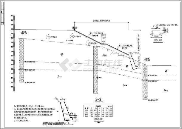 某仰斜式挡土墙节点构造详图(共5张图纸)图片