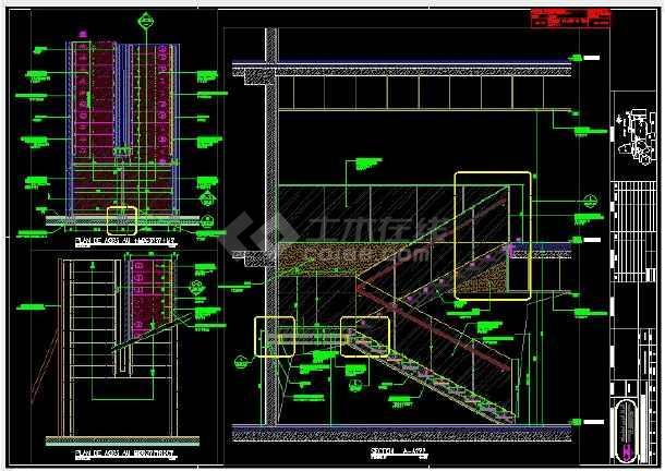 钢结构玻璃踏步楼梯施工图纸