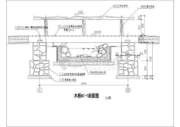 木桥施工cad图(木桥a正立面图)