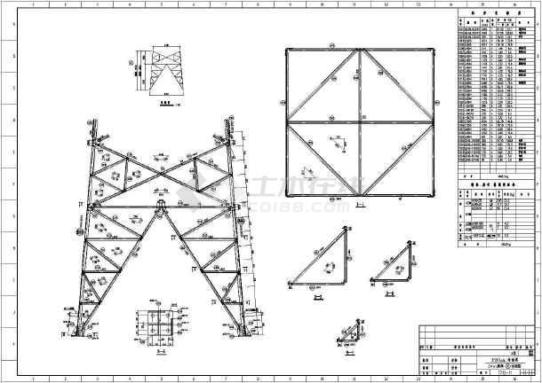7712输电塔结构设计cad图