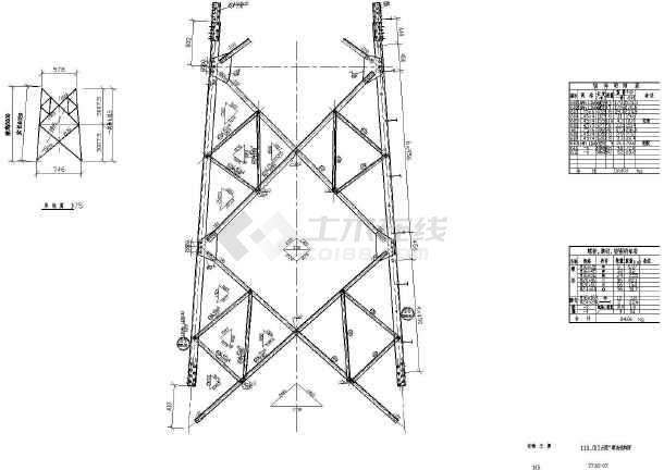 7738输电塔结构设计cad图图片
