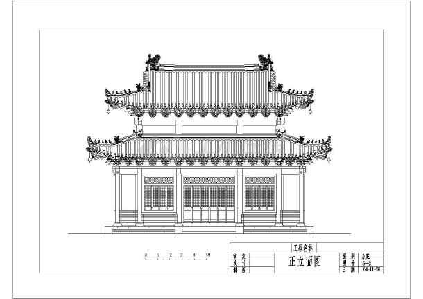 某地仿古建筑设计cad图,含侧立面图