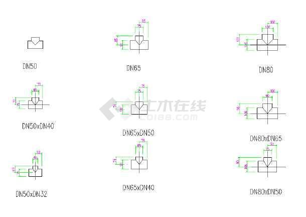 很全的PVC管件图纸标准CAD尺寸cad指北针图图片