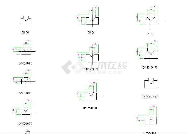 很全的PVC机箱管件标准CAD尺寸图纸风cad块图图片