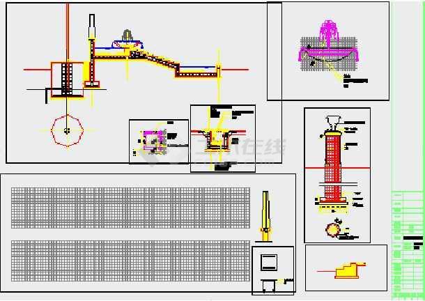 建设范围平面图,硬质景观索引平面图,铺装设计,叠水,旗杆详图,灯柱