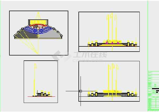 建设范围平面图,硬质景观索引平面图,铺装设计,叠水,旗杆详图,灯柱,花