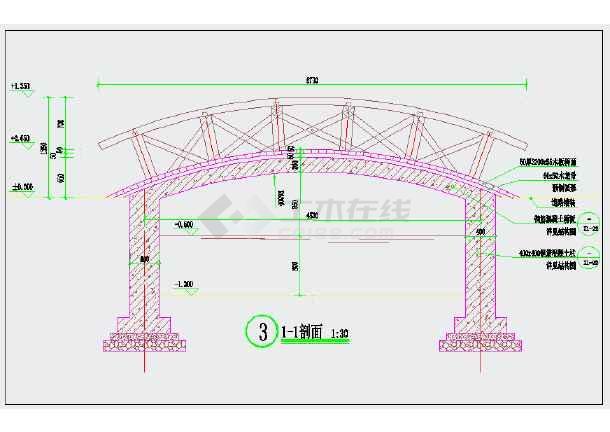 木景观CAD详图施工图比例cad拱桥填充修改图片