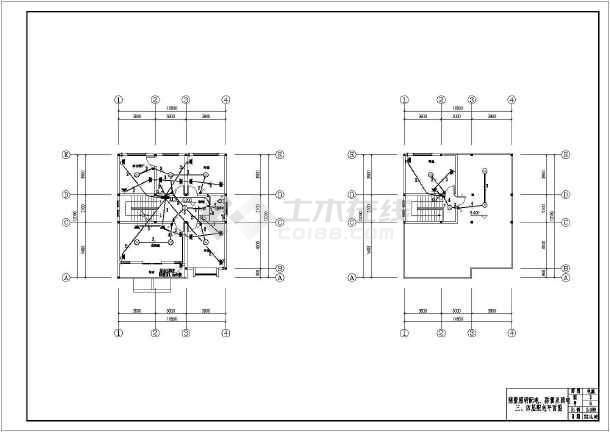 别墅电气施工设计图(照明防雷接地弱电)