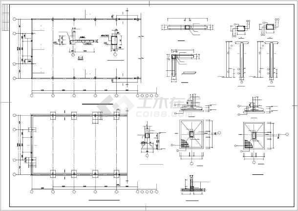 某屋面钢结构混凝土柱轻钢仓库CAD图片cad大理石法国边图纸图片