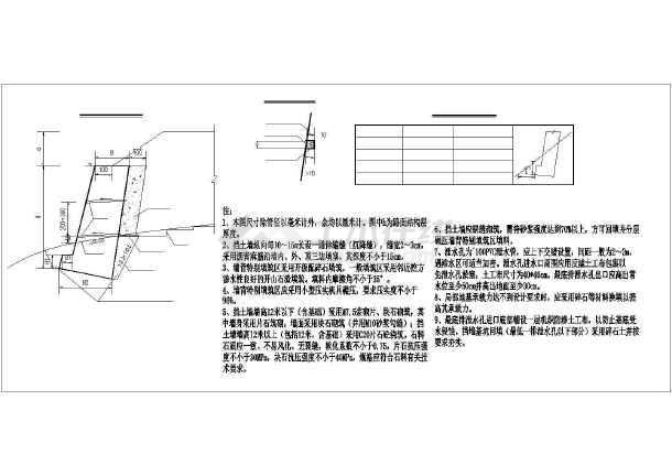 仰斜式挡土墙设计cad图图片