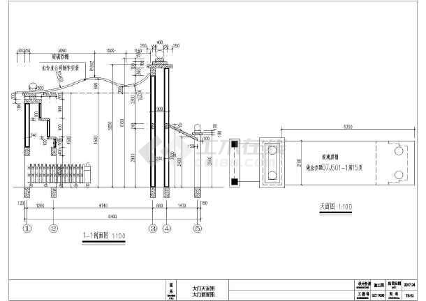 不锈钢v大门伸缩门大门建筑结构施工图筋图纸箍表示方法图片