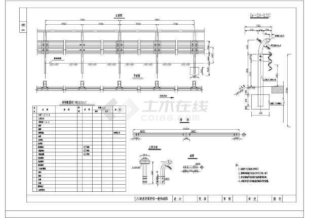 桥梁波形梁节点图纸大样图(共4张护栏)富士许继121STIA-W图纸图片